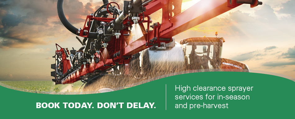 High clearance sprayer services for in season and pre-harvest.