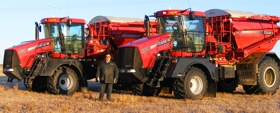 Harold Friedhoff, Custom Application Manager of Rack Petroleum, with new Case IH 4520 Floaters